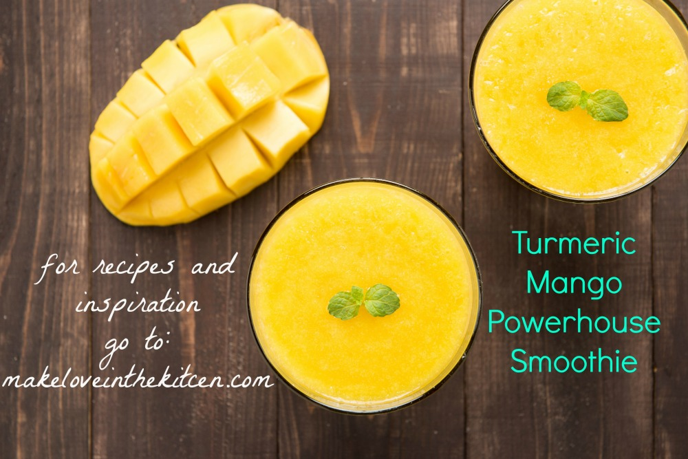 Turmeric Mango Powerhouse Smoothie from Make Love in the Kitchen